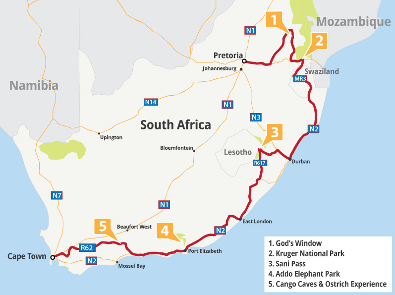 South African Grand Tour Map