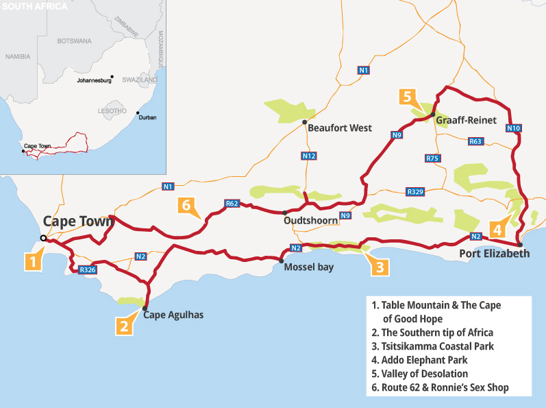 """Garden Route """"Relaxed"""" Map"""